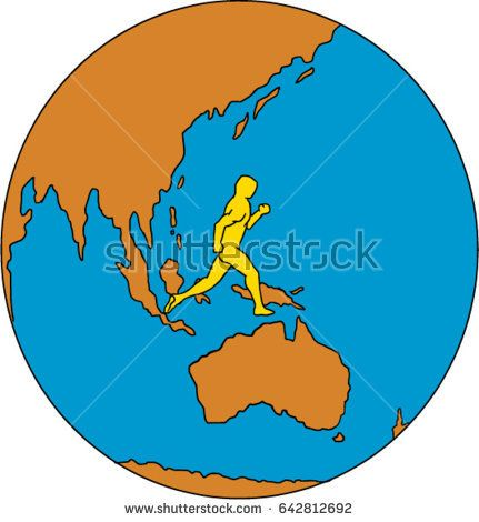 Drawing sketch style illustrations of marathon triathlete runner running viewed from the side set inside globe showing Asia Pacific and the world.  #triathlete #drawing #illustration