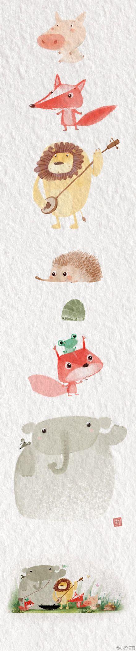 cute watercolor animals