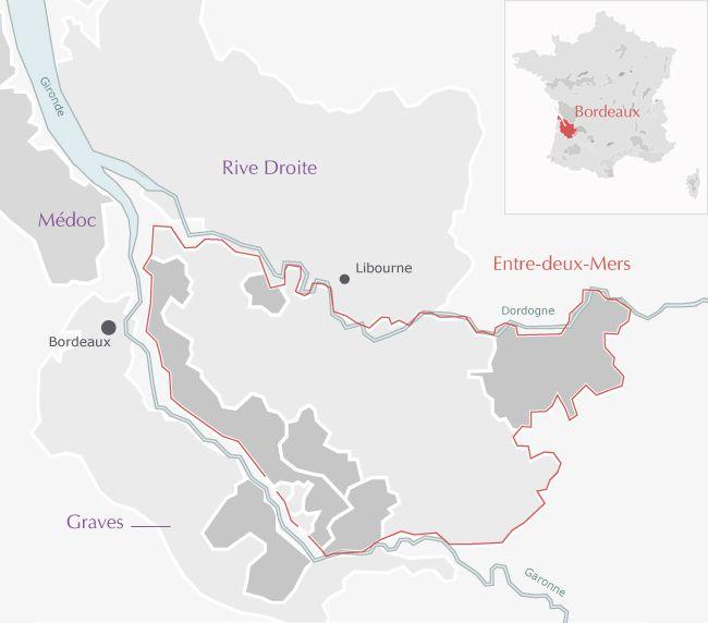 Carte de : Graves-de-Vayres Bordeaux Entre-deux-Mers