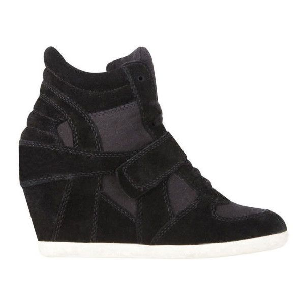 Ash Women's Bowie Suede Wedged Trainers (280 AUD) ❤ liked on Polyvore featuring shoes, sneakers, black, black shoes, velcro sneakers, studded lace-up wedge sneakers, suede sneakers and black wedge sneakers
