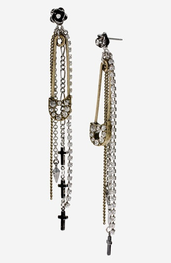Betsey Johnson 'Black Label' Linear Safety Pin Earrings | Nordstrom- Designed by CCS Crafts Alumnae Samantha Scheffman