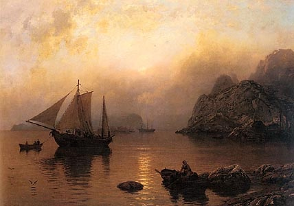 Hans Gude (1825-1903): A Fishing Party at Sunrise, 1873