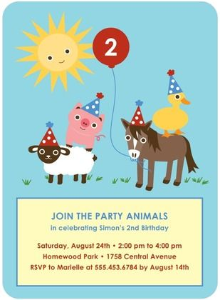 birthday party invitations party animals front sky 1st