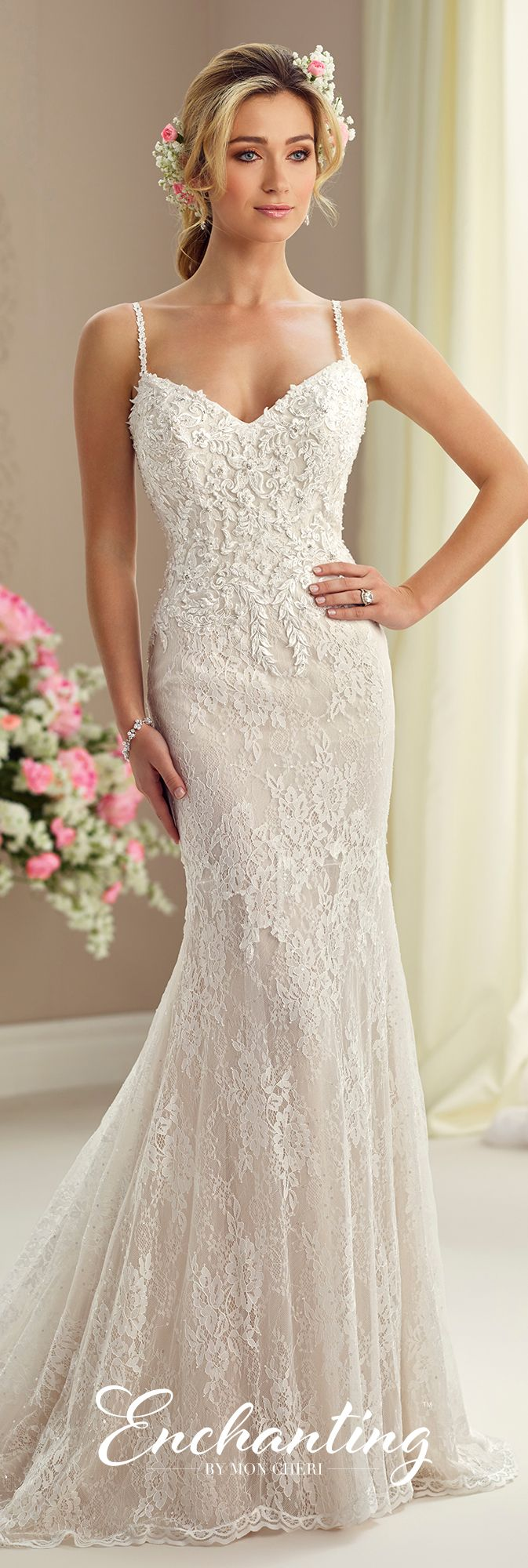 Allover Lace & Chiffon Fit & Flare Wedding Dress with a Train- 217107