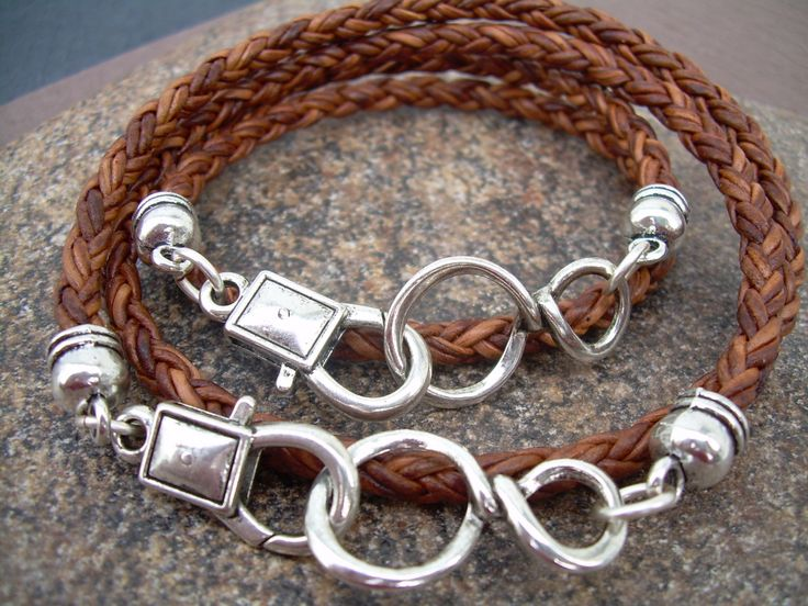 His and Hers Set of Infinity Bracelets, Leather Bracelet, Mens, Womens, Natural Light Brown Braided