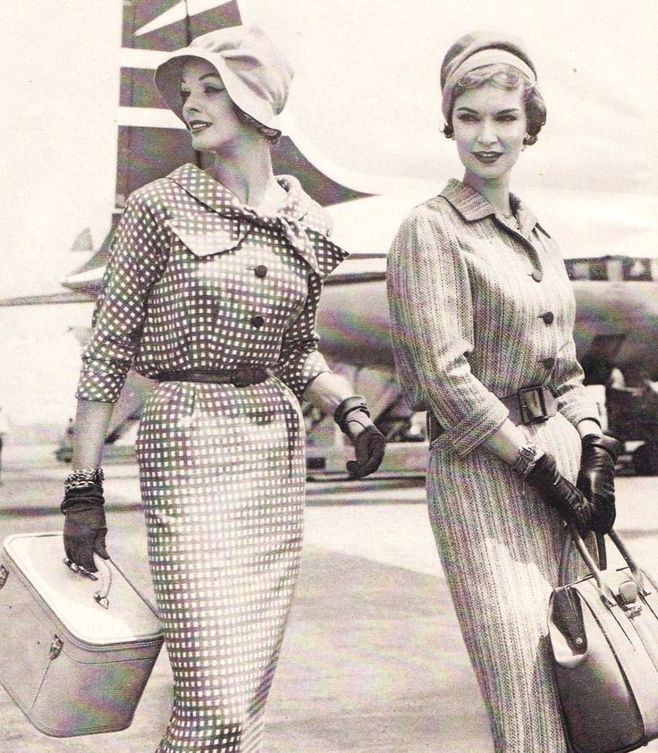 Vintage Travel Glam 50s 60s Day Dress Suit Checks Plaid