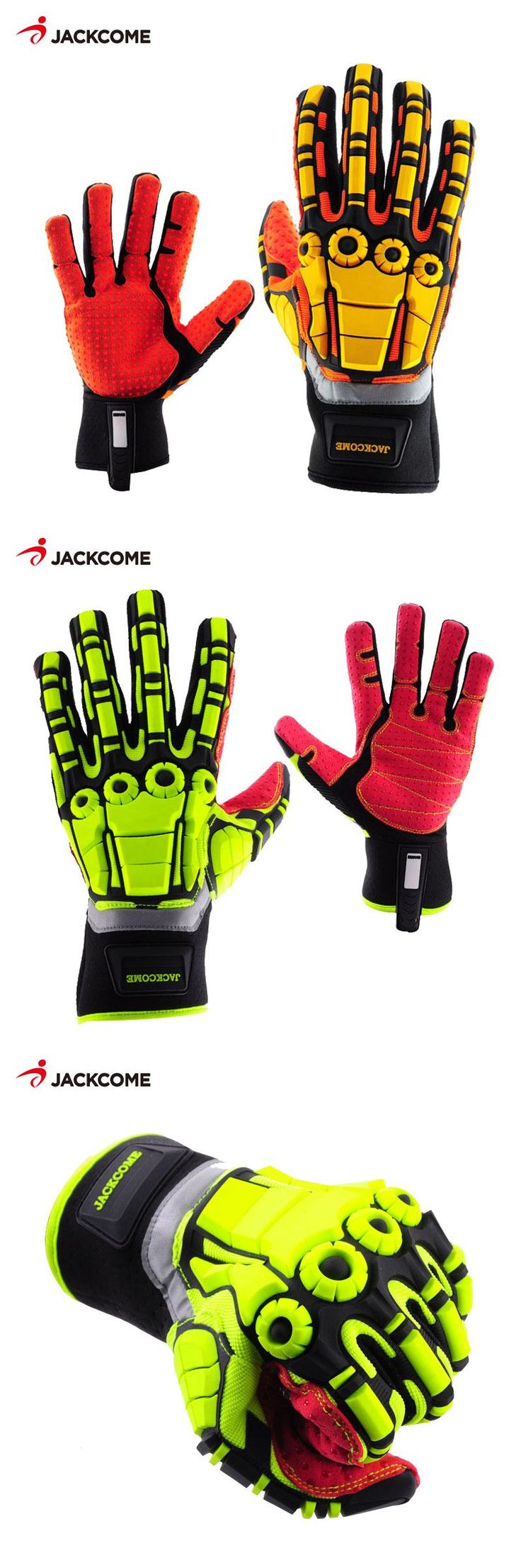 [Visit to Buy] JACKCOME Cycling Anti Vibration and Gas Safety Gloves Mechanic Fluorescent Nylon Shock Mechanics Impact Resistant sport Glove #Advertisement
