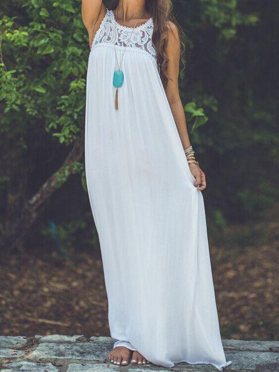 robe longue mousseline dentelle -blanc  12.58