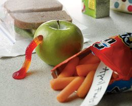 hehehe! april fools lunch, carrots instead of chips and a worm out of the apple!