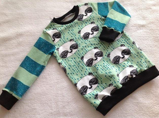 """Pullover & Sweatshirts - Sweatshirt """"Panda-Bär"""" mint - ein Designerstück von Frau-Haase bei DaWanda"""