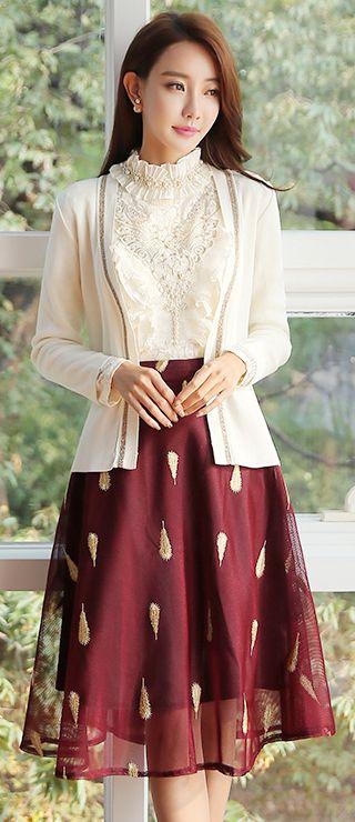 StyleOnme_Feather Embroidered Mesh Flared Skirt #winered #seethrough #mesh #elegant #flared #skirt #koreanfashion #feminine #falltrend #seoul #kstyle
