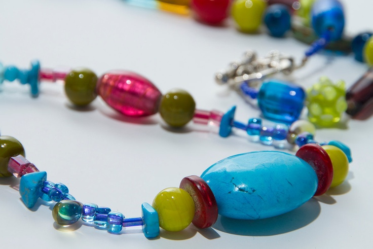 long beaded necklace, multi coloured necklace, mixed beaded necklace, bohemian, colourful. £30.00, via Etsy.
