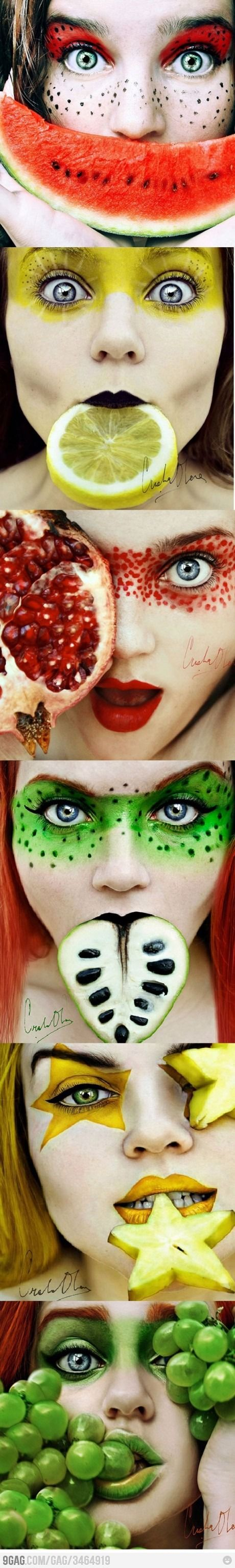 """A very nice series of self-portraits entitled ""Tutti Frutti"" by 16-year old Spanish photographer Cristina Otero. Blending close-ups with fruits and wild make-up, the artist draws the viewers into an unconventional and colourful notion of beauty. With just a couple years of experience in photography, this prowess is the expression of true talent."""