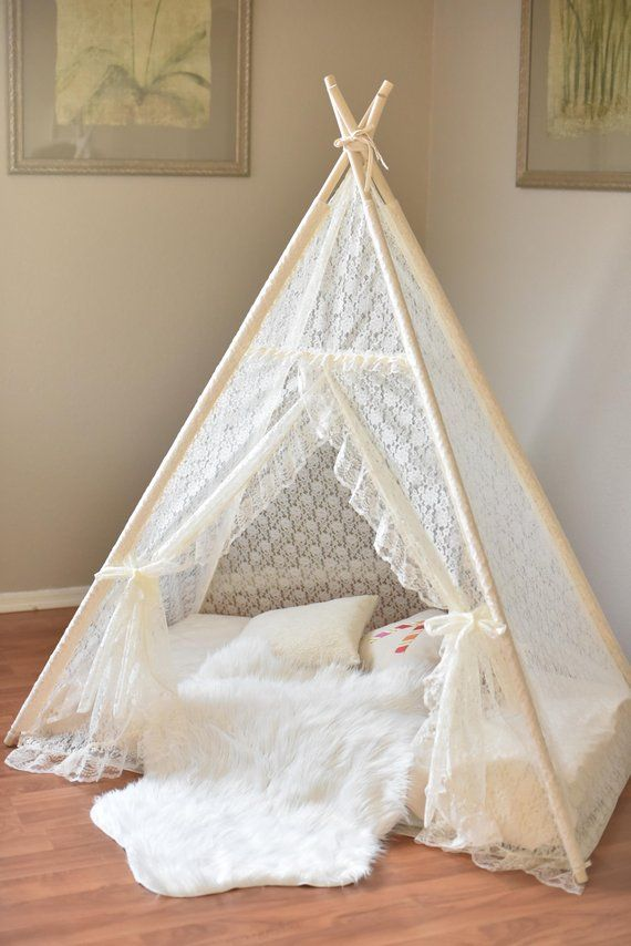 Bed Teepee Ivory All Lace Kid Bed Teepee Kids Play Tent