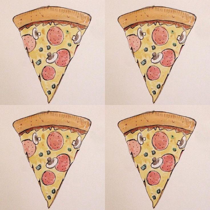 Pizza pizza pizza! 🍕🍕🍕#watercolor #sketch #pizzaappreciation #doodle #saturday #pizza #pizzalove #cheeseygoodness