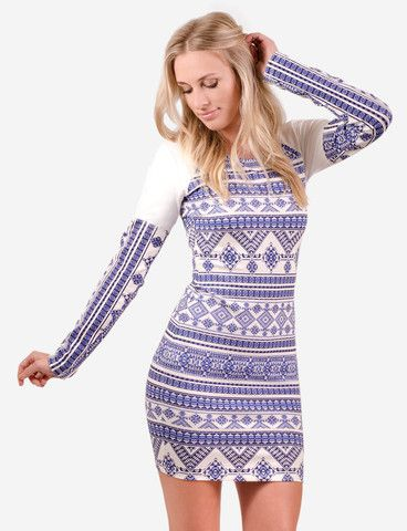 Ti Rakau dress from www.belleroad.co.nz  Blue & white Aztec bodycon longsleeve party dress