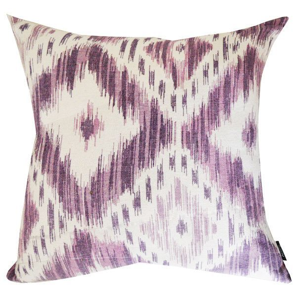 These cotton throw pillows come in an attractive Ikat pattern. The shaded ikat adds to the look and the hidden zipper makes the covers easy to remove for cleaning.