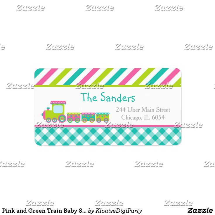 Pink and Green Train Baby Shower Label