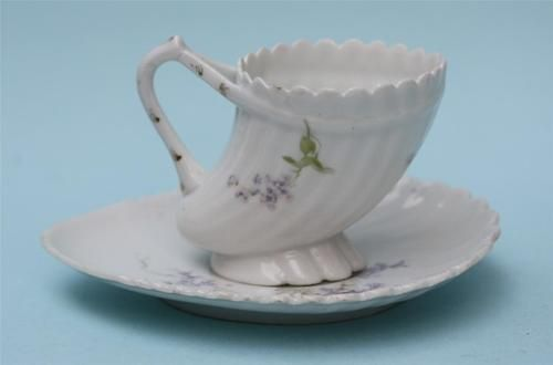 Antique Imperial Russian Elongated Shell Design Cup Saucer by Kuznetsov Wolhov: