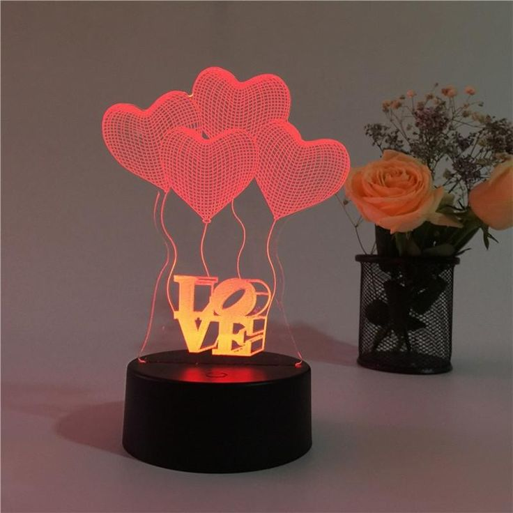 Love Heart Shapes 3D Multicolor LED Lights Touch Night Light Table Lamp