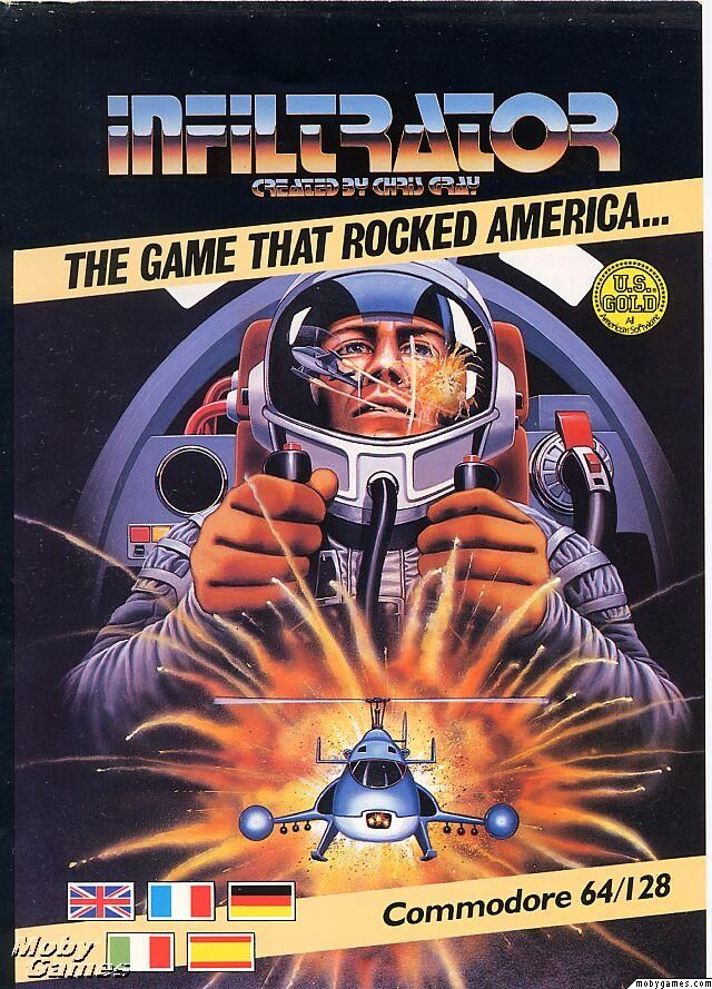 Infiltrator For The Commodore 64 Box Cover Artwork An Impressive Looking Game For Those Days Retro Video Games Classic Video Games Retro Gaming Art
