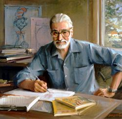 Theodor Seuss Geisel (Dr. Seuss) (1904-1991), Class of 1925. After Dartmouth, Geisel attended Oxford and drew cartoons for The Saturday Evening Post and The Judge, a humor magazine. He went on to publish more than 40 books which have sold more than 220 million copies. He was awarded the Pulitzer Prize in 1984 for his contributions to childrens literature. The above portrait: 1982, oil on canvas by Everett Raymond Kinstler, commissioned by the trustees of Dartmouth College.