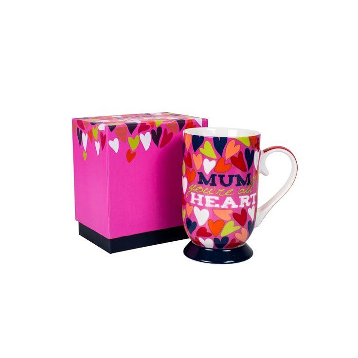 """Mum You're All Heart"" bone china inscripted mug $10 @ www.graceandlace.com.au"