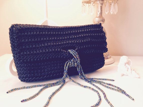Black crochet clutch with beaded catch by CrochetGrace on Etsy