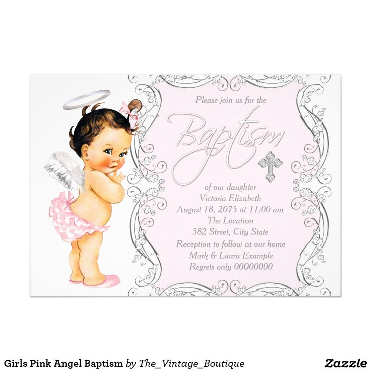55 best religious invitations ideas images on pinterest cross girls pink angel baptism 5x7 paper invitation card stopboris Choice Image