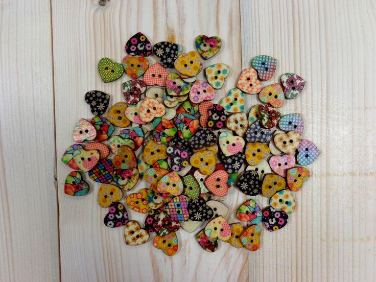 Κουμπιά Ξύλινα Καρδιές H361-50