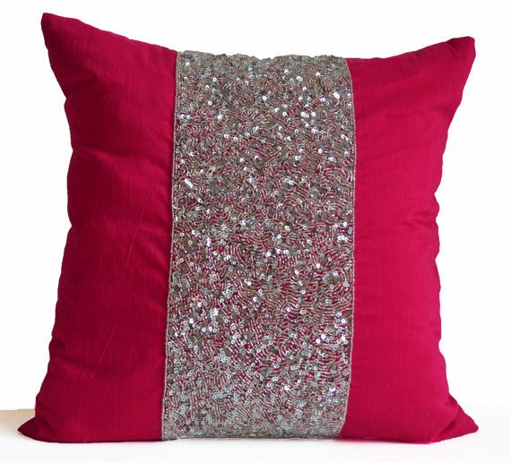 Pink Decorative Pillow Cushion Cover Hot Pink Pillow Silver Pink Sequin  Pillow Sparkle Pillow Multiple Sizes Gift Wedding Anniversary Dorm