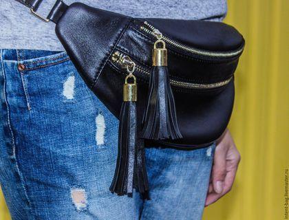 Купить С015 - черный, пояс кожаный, сумочка, женская сумка, сумка женская, сумка на пояс