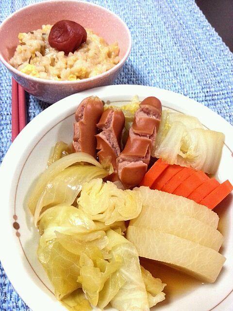 旦那さんが腹痛でダウン(^_^;) とりあえずお揃いのご飯に。 - 0件のもぐもぐ - ポトフ 塩昆布のお粥卵とじ by emilichan