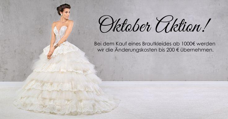 Der Oktober hat begonnen und wir haben wieder eine Überraschung für unsere Bräute! Bei dem Kauf eines Brautkleides ab 1000€ werden wir die Änderungskosten bis 200 € (Standard Anpassungen) übernehmen.
