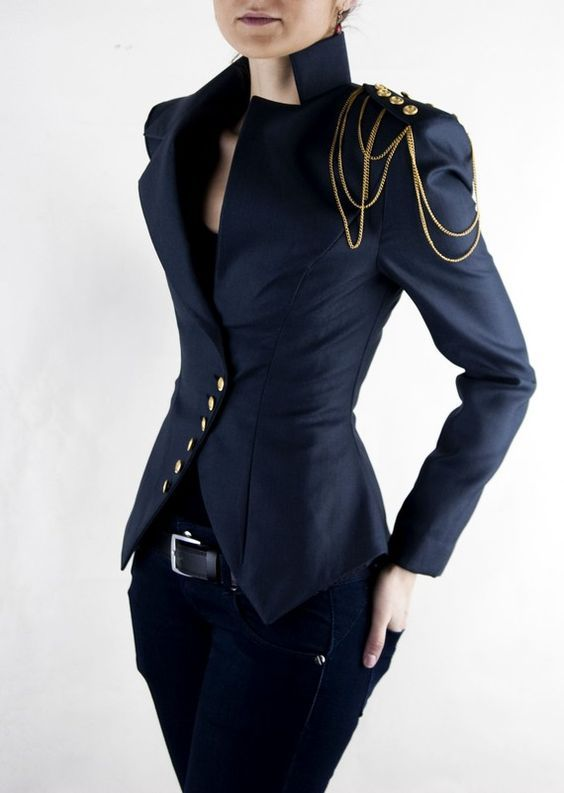 Asymmetric Blazer, Ladies Jacket, Office Suit, Shoulder Chain, Navy Suit | Milla with chain
