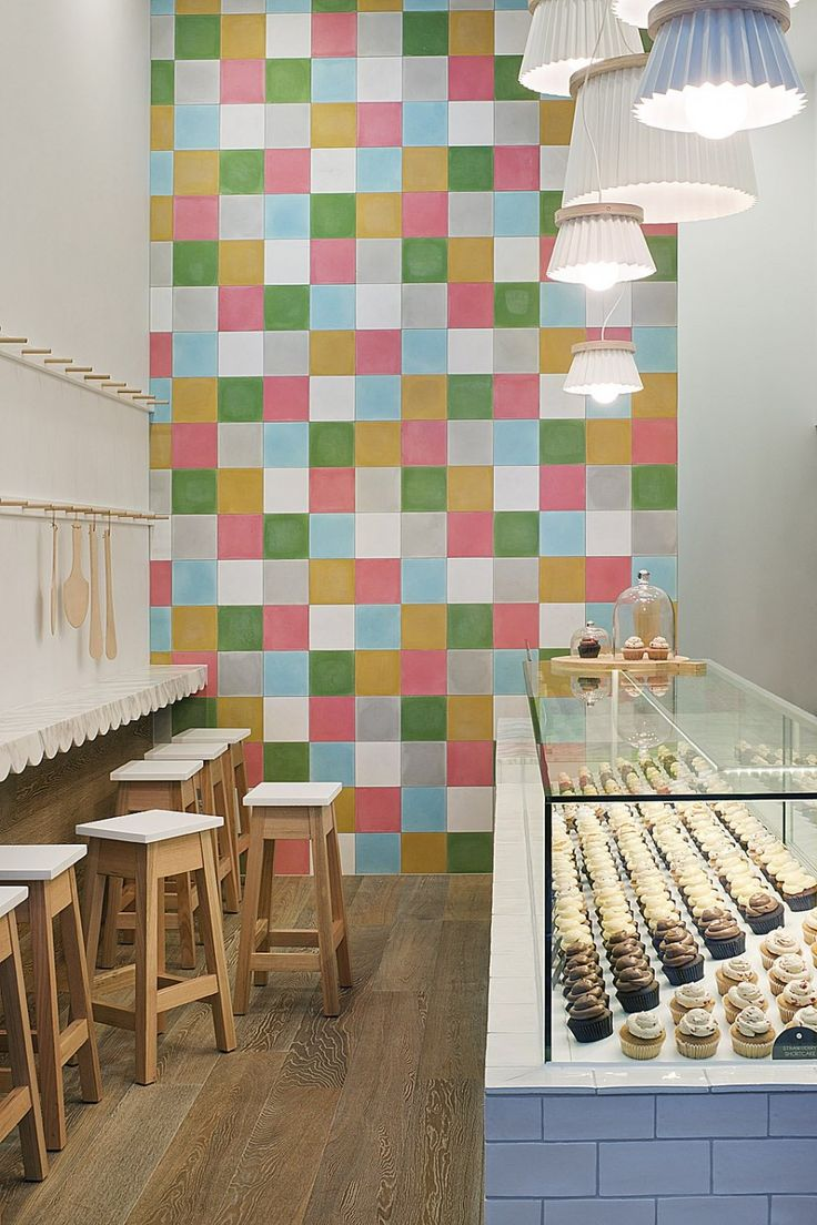 joy cupcakes by mim design. scalloped marble counter.