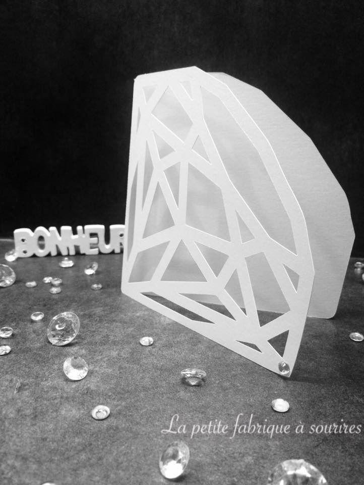 Faire-part carte double diamant scintillant ajouré et strass : Faire-part par la-petite-fabrique-a-sourires