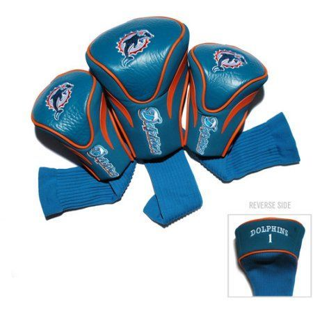 Team Golf NFL Miami Dolphins 3 Pack Contour Head Covers, Blue