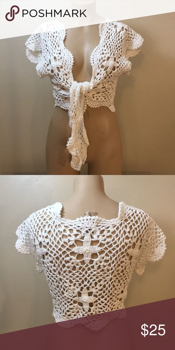 Vintage Boho Gypsy White Crochet Cardigan Hippy Gorgeous ! By Rico Handknits . True vintage . Handmade . Soft ! 100 Cotton. So many ways to wear. vintage Sweaters Cardigans
