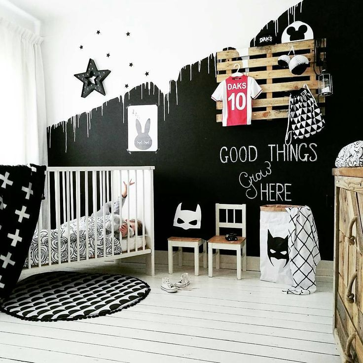 Wonderful monochrome kid's bedroom. Toddler room. <3