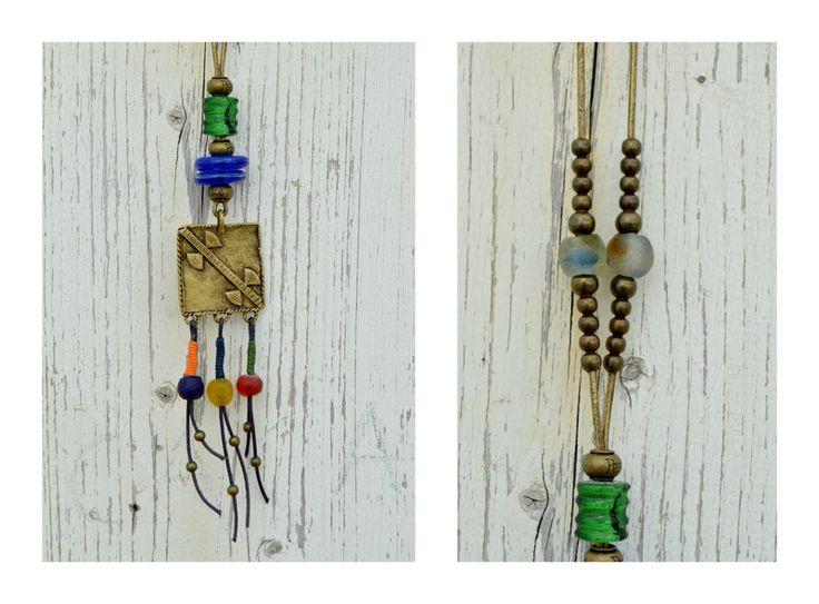 Amuletos - Colgante étnico multicolor, collar africano vintag - hecho a mano por Doce-Cuentas en DaWanda