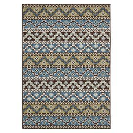 """Loomed indoor/outdoor rug with a Southwestern-inspired motif.   Product: RugConstruction Material: PolypropyleneColor: Blue and cremeFeatures:  Power-loomedSuitable for indoor and outdoor use   Pile Height: 0.25"""" Note: Please be aware that actual colors may vary from those shown on your screen. Accent rugs may also not show the entire pattern that the corresponding area rugs have.Cleaning and Care: Sweep, vacuum or rinse off with a garden hose"""