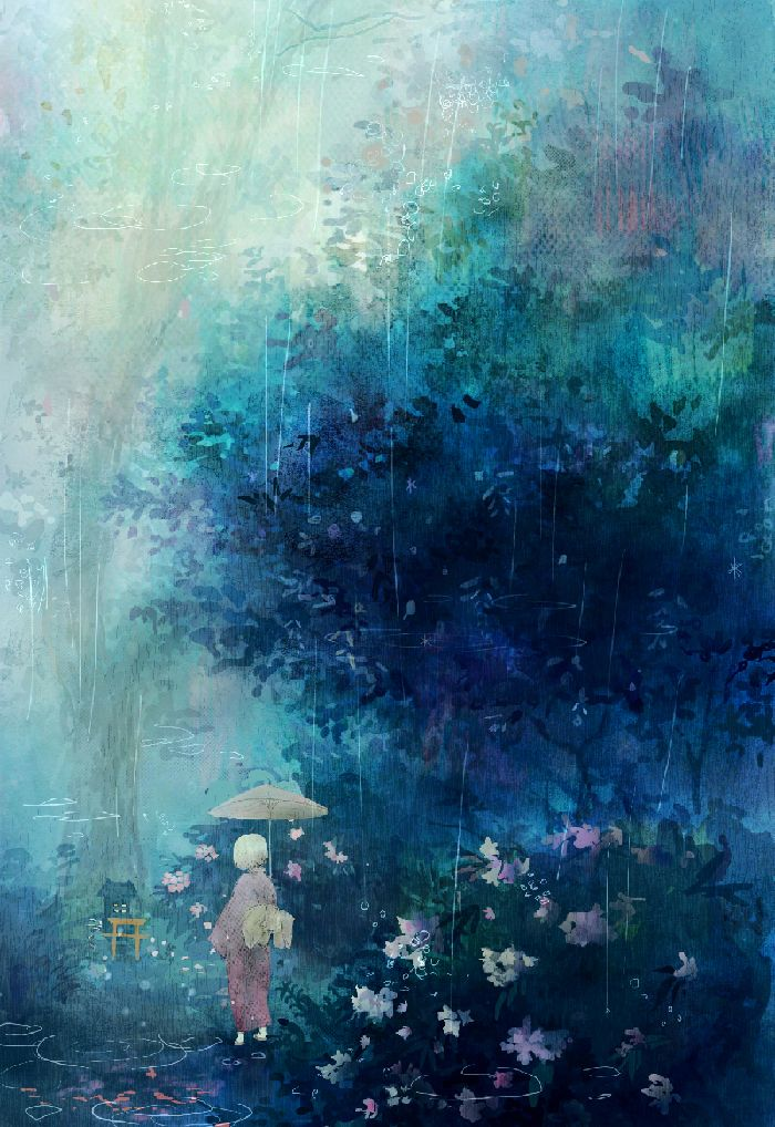 garden in the rain: Art Inspiration, Illustrations, Blue, Color, Artsy, Beautiful, Anime Art, Painting