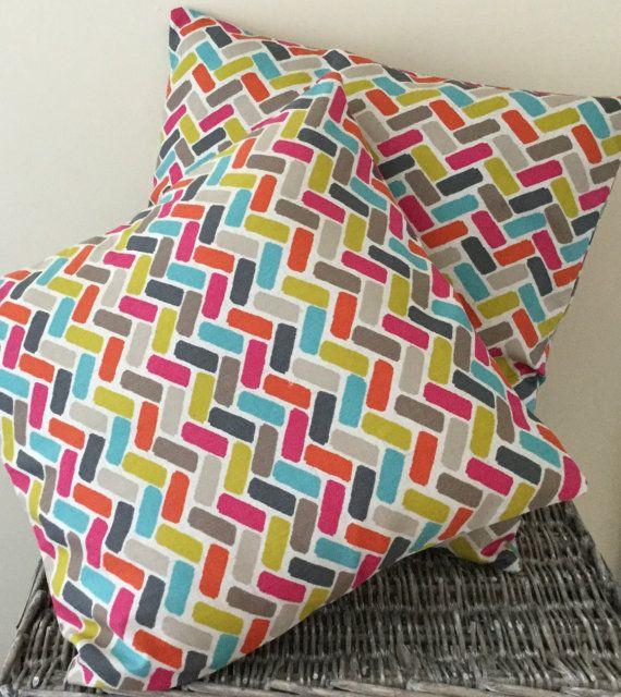 Multicoloured brickwork pattern handmade cushion in various