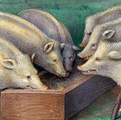 """""""Copains comme cochons"""" - Les Grandes Heures d'Anne de Bretagne (1503 1508), Jean Bourdichon"""