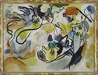 Kandinsky -Jüngster Tag [The Last Judgement], Water paints & Indian ink on glass 'reverse glass painting ... discovered by Kandinsky in the summer of 1908 .. held a deep interest for this typical form of Bavarian folk art traditionally practised in families – & to which he devoted himself with his entourage – even undertaking research to discover its origins. .. interested him not only as an expression of popular culture, but also because ..  transparency, brilliance &moiré impressions ..