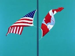 Side by Side - Patcher's flag paintings hang in the Prime Minister's residence in Ottawa, in the Canadian Embassy in Washington, in the Parliament Buildings and in the Embassy of France in Ottawa, and the Canadian High Commission in London. Charles Pachter, OOnt OC (born December 30, 1942 in Toronto, Ontario) is a Canadian contemporary artist. He is a painter, printmaker, sculptor, designer, historian, and lecturer.