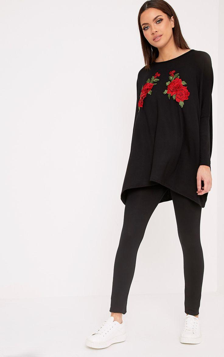 Mandy Black Floral Embroidery Top & Leggings Set