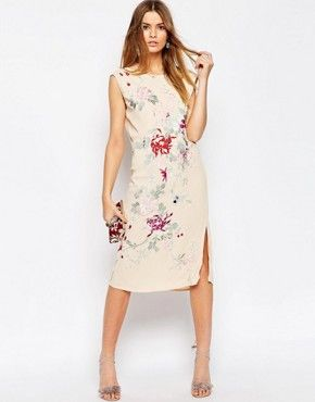 ASOS PREMIUM Embroidered Sleeveless Column Dress