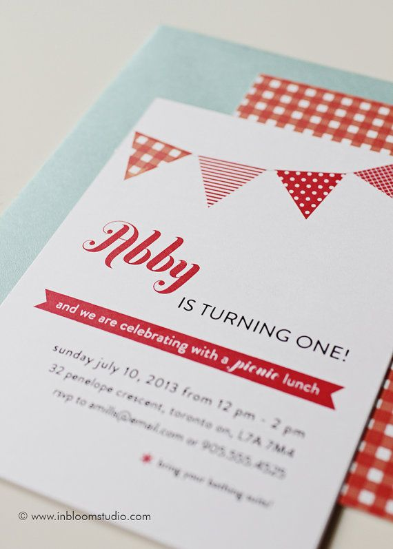 Picnic Party  Printable Birthday Party Invitation by oliveandiris, $25.00
